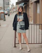 dress,mini dress,ankle boots,heel boots,black bag,ysl bag,black coat,double breasted,black turtleneck top