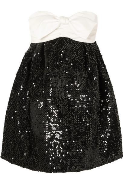 Alexandre Vauthier - Strapless Bow-detailed Satin And Sequined Velvet Mini Dress - Black