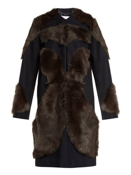 Raey - Tiger Shearling And Wool Coat - Womens - Navy Multi