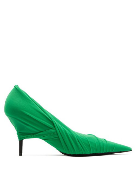 Balenciaga - Drape Mesh Wrap Pumps - Womens - Green
