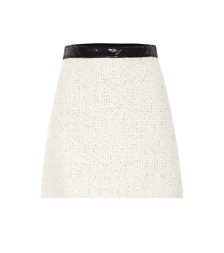 Miu Miu Embellished tweed miniskirt in white