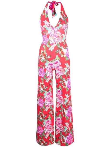 Fisico floral-print halterneck jumpsuit - Pink