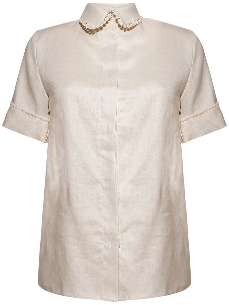 UNDERPROTECTION Caroline Organic Linen Pajama Shirt in white