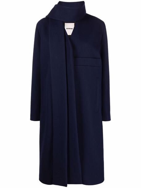 Aeron scarf-detail coat - Blue