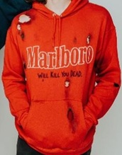 sweater,hoodie,red,holes,marlboro,kill,you,dead,waterparks,otto wood,drummer,band,pop,punk,black,punk rock