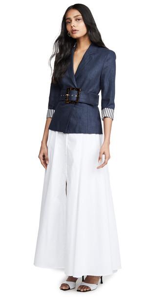 STAUD Knightly Dress in navy / white