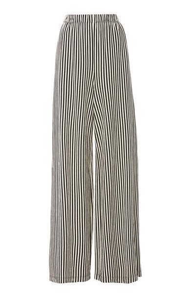 MDS Stripes Pia Cotton Wide-Leg Pants Size: 0 in black