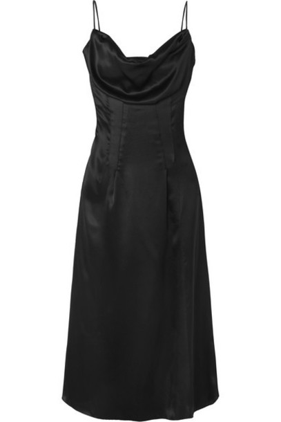Versace - Draped Silk-satin Dress - Black