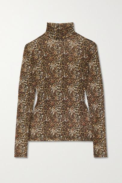 Reformation - Laney Leopard-print Stretch-mesh Turtleneck Top - Brown