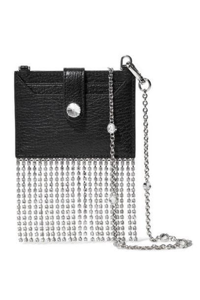 Miu Miu - Madras Crystal-embellished Textured-leather Shoulder Bag - Black