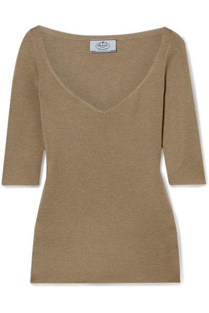 Prada - Cashmere And Silk-blend Sweater - Sand