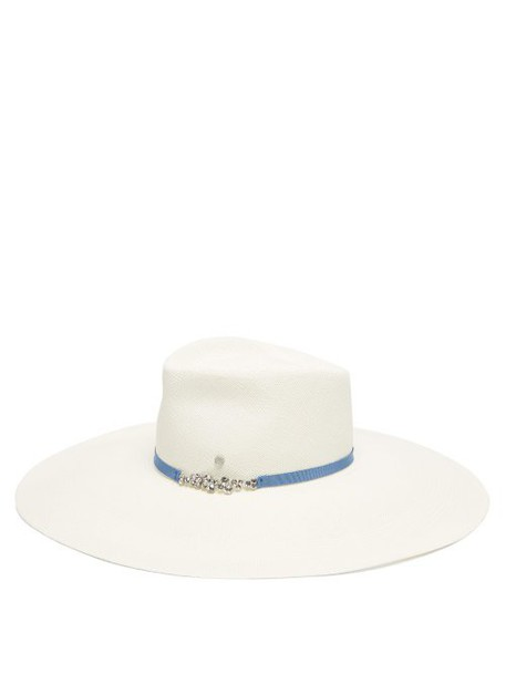 Maison Michel - Pina Crystal Embellished Straw Hat - Womens - White
