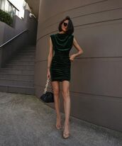 dress,mini dress,velvet dress,sandal heels,black bag