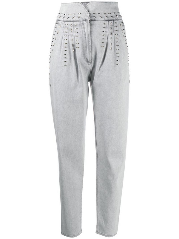 Alberta Ferretti stud-detail jeans in grey