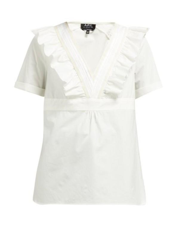 A.P.C. A.p.c. - Erwin Ruffled V Neck Cotton Top - Womens - White