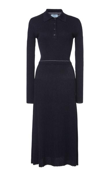 Prada Ribbed Knit Midi Dress in navy