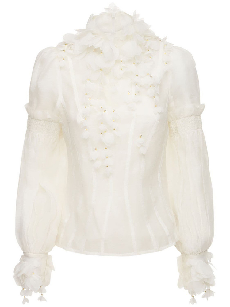 ZIMMERMANN Botanica Wattle Linen & Silk Shirt in white