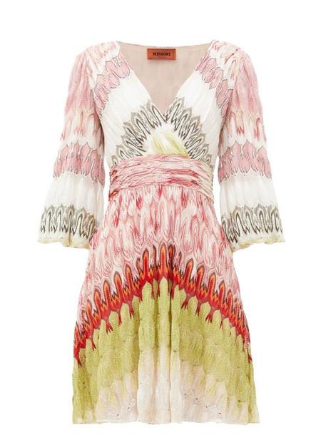 Missoni - V-neck Balloon-sleeve Wrap-front Dress - Womens - Pink Multi
