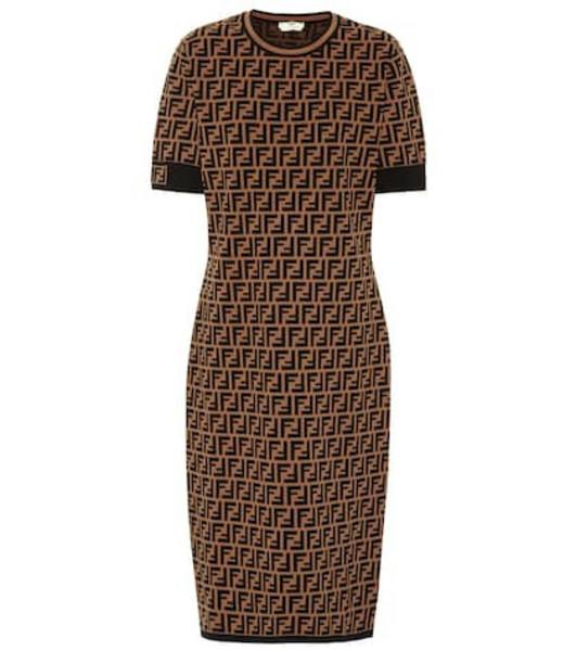 Fendi Stretch-knit midi dress in black