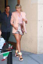 top,sequins,shirt,shorts,taylor swift,celebrity,blazer,platform sandals