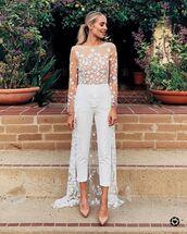 jumpsuit,white jumpsuit,lace,embroidered,pumps