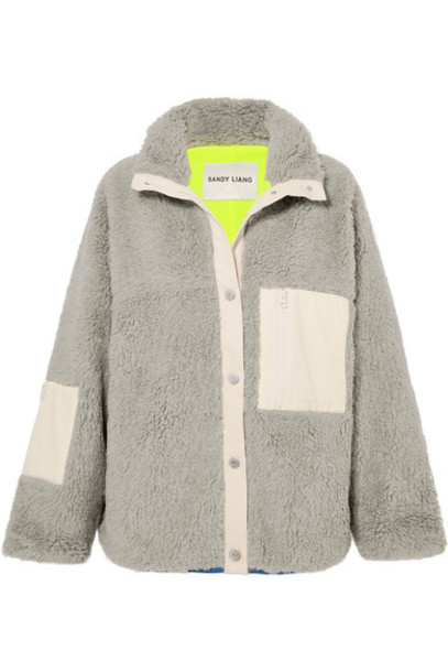 Sandy Liang - Ollie Ripstop-trimmed Fleece Jacket - Gray