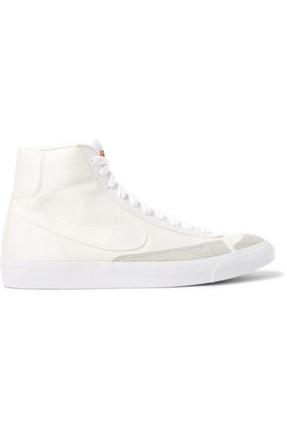Nike - Blazer Mid '77 Suede-trimmed Canvas High-top Sneakers - Off-white