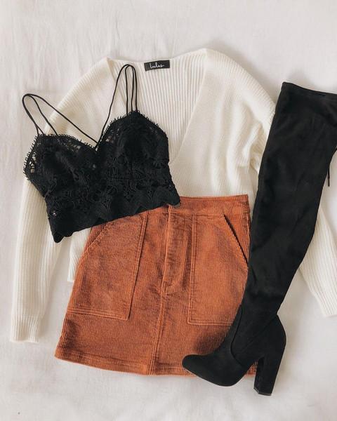 shoes skirt sweater underwear