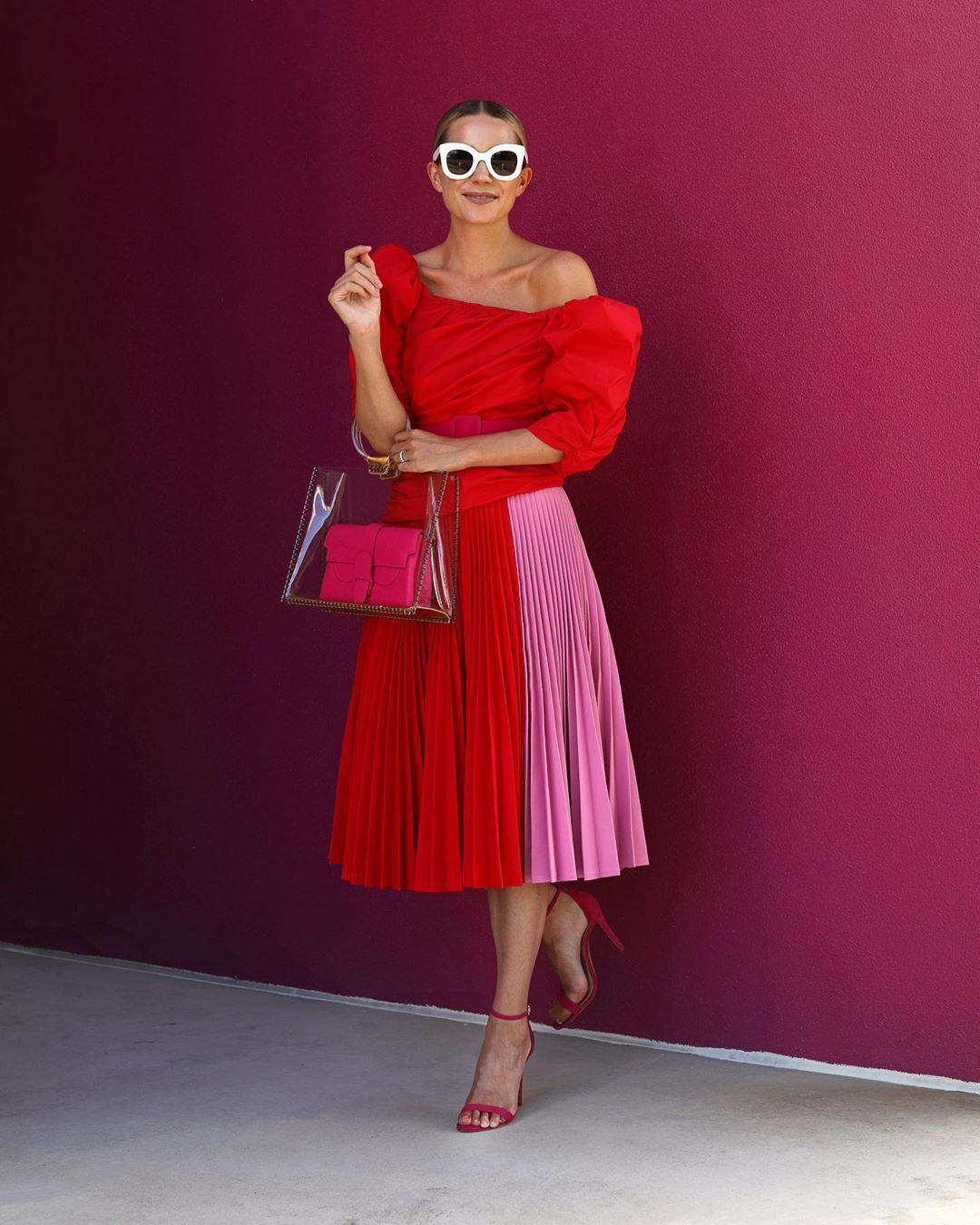 skirt pleated skirt midi skirt calvin klein red top off the shoulder top sandals transparent  bag