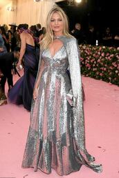 bag,metallic,silver,sequins,sequin dress,metgala,kate moss,celebrity,red carpet,gown