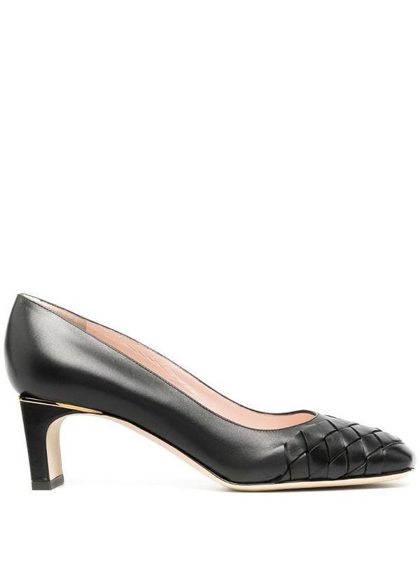 Pollini squared toe interwoven pumps in black