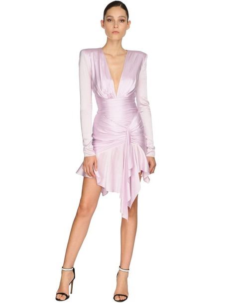 ALEXANDRE VAUTHIER Draped Stretch Satin Dress in pink