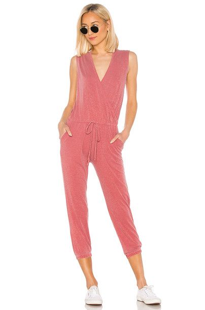 SUNDRY Wrap Jumpsuit in red