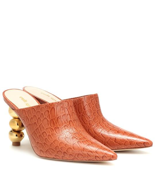 Cult Gaia Penelope croc-effect leather mules in orange