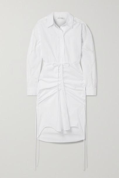 Christopher Esber - Cummerbund Lace-trimmed Ruched Cotton-poplin Shirt Dress - White