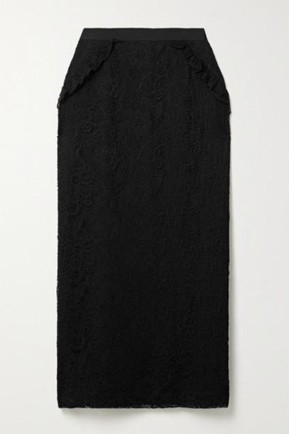 Laura Garcia - Mila Ruffled Lace Midi Skirt - Black