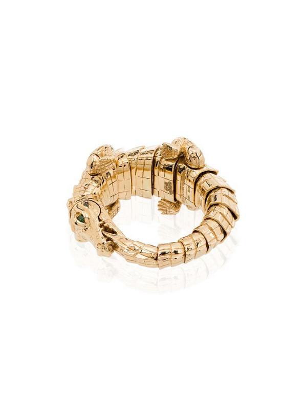 Bibi van der Velden 18kt yellow gold crocodile wrap ring