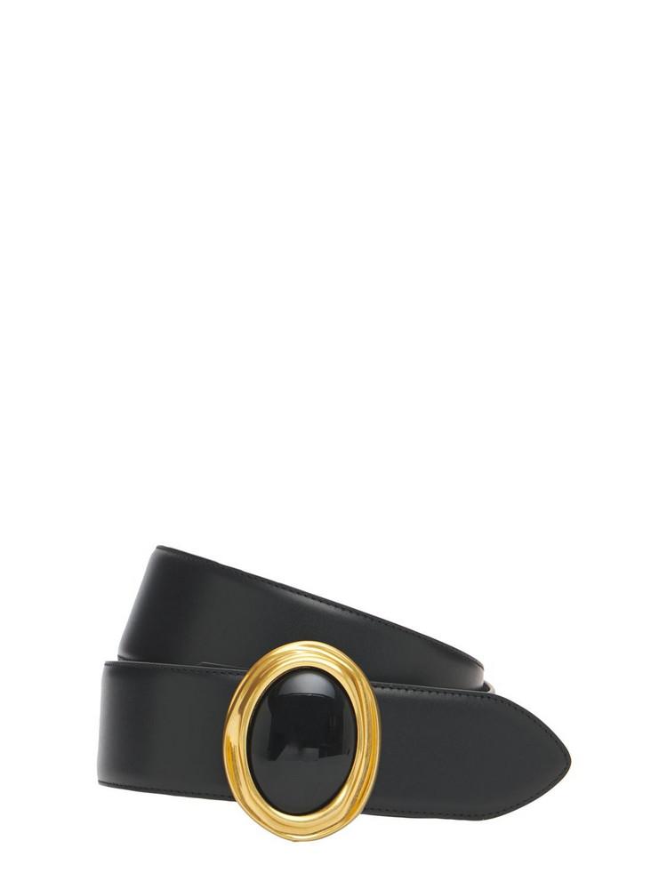 SAINT LAURENT 4.5cm Ysl Leather Belt in black