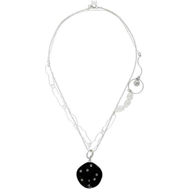 Mounser Black and Silver Rain Drop Pierced Necklace Set