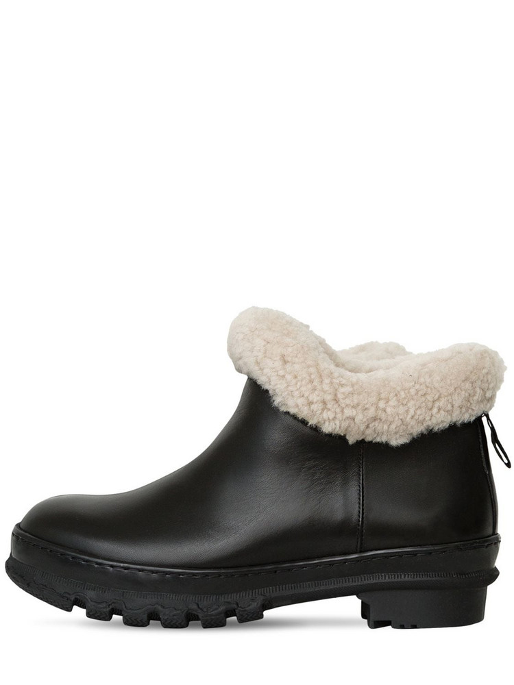 LEGRES 40mm Leather Ankle Boots W/ Shearling in black