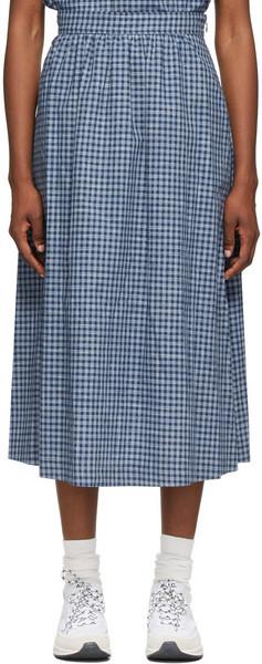 A.P.C. A.P.C. Navy & Grey Ravenna Mid-Length Skirt