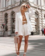 shorts,white shorts,High waisted shorts,h&m,white blazer,white sandals,bucket bag,t-shirt
