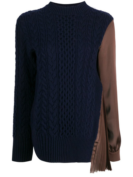 Sacai satin-panelled cable-knit top in blue