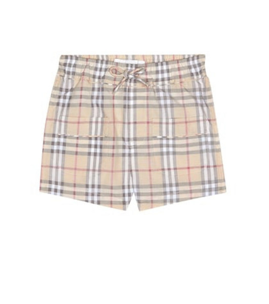 Burberry Kids Baby Check cotton shorts in beige