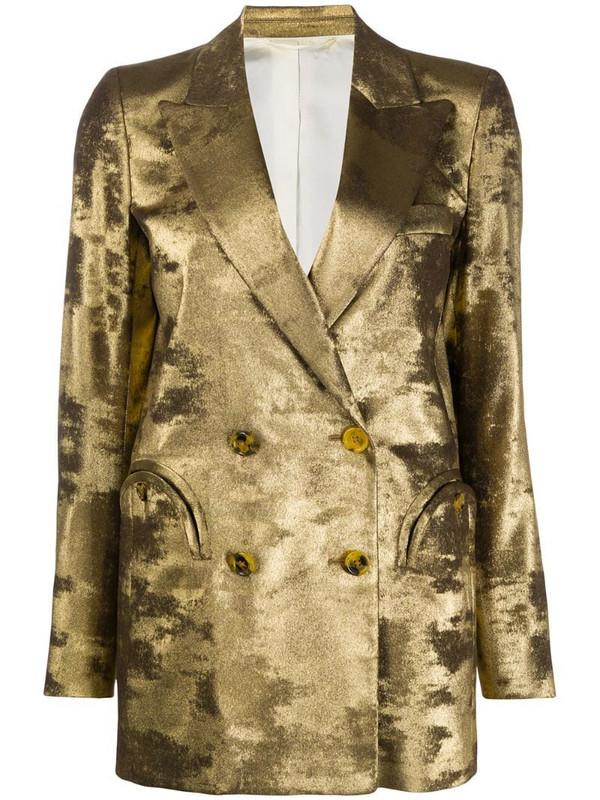 Blazé Milano metallic double breasted blazer in gold
