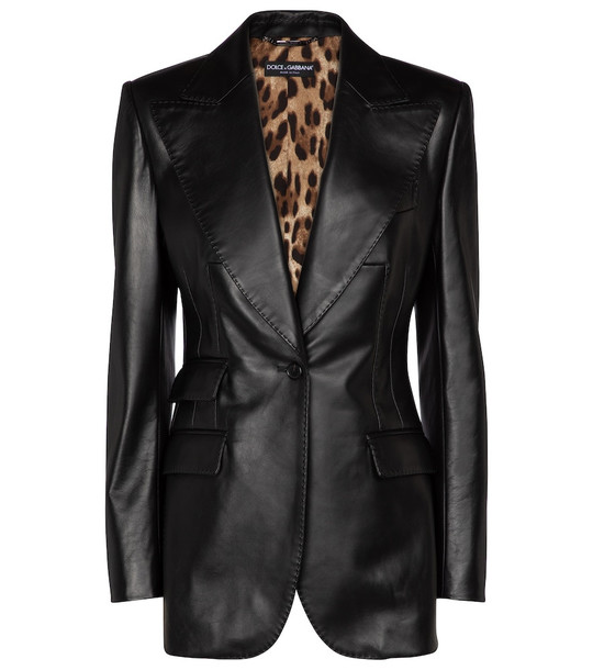 Dolce & Gabbana Leather blazer in black