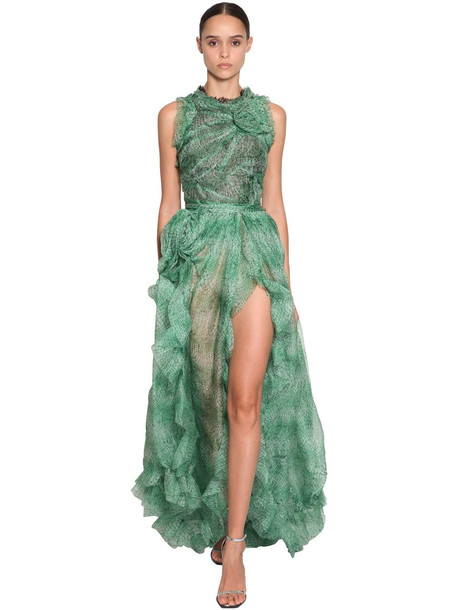 ERMANNO SCERVINO Printed Long Ruffled Organza Dress in green