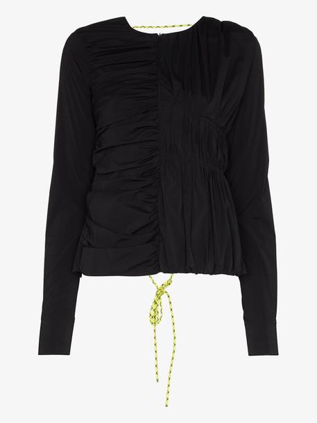 Markoo Open back self-tie blouse in black