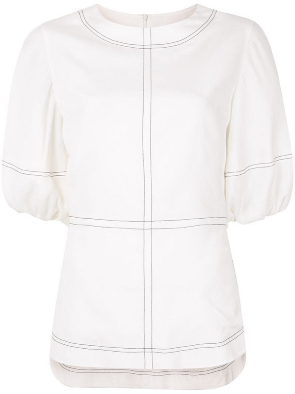 Goen.J topstitching puff-sleeves blouse in white