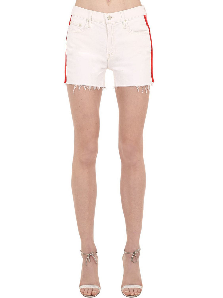 MOTHER The Sinner Denim Shorts W/ Side Bands in white / multi